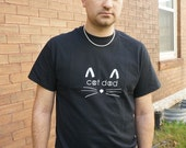 Cat Dad T-Shirt - Black Hand Silkscreened Short Sleeve Tee for Men Who Love Their Cats