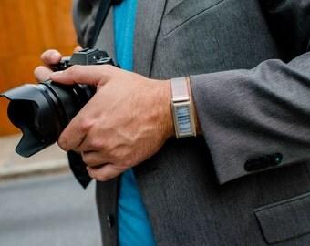 Man's Wide Silver Fit Bit Bracelet - Silver & Stone Holder for Fitbit Flex or Flex 2 Tracker w Adjustable Stainless Steel Watch Band for Men