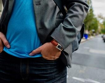 Man's Wide Leather Fit Bit Bracelet - Silver & Agate Holder for Fitbit Flex or Flex 2 with Adjustable Black or Brown Leather Band for Men