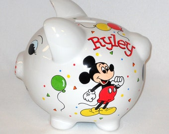Personalized Piggy Bank with Mickey Mouse and Balloons
