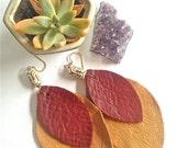 Leather Earrings / Leather Dangle Earrings / Leaf Earrings / Brass And Leather Earrings / Tan Leather Earrings / Red Leather Earrings / Boho