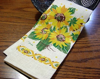 Vintage NOS Kay Dee Sunflowers Kitchen Dish Towel w Label -Printed Linen Yellow Gold Green Brown Floral Flowers Artist Signed