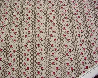 Laura Ashley Decorator Fabric English Country Print -Rosebud Stripe - Raspberry Pink Beige Brown Drapery Material BTY