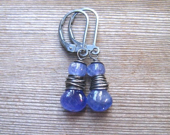 Tanzanite Earrings, Natural Gemstone, Periwinkle Dangle Earrings, Tanzanite Jewelry, Sterling Silver, December Birthstone, Gift For Her