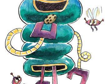 The Cookie Powered Robot - ink and watercolor illustration