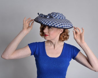 Vintage 1940s Blue Plaid  Hat - Big Brim Bow - Kentucky Derby Fashions
