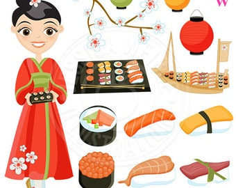 Sushi Cute Digital Clipart, Japanese Cuisine, Sushi Clip Art, Sushi Graphics, California Roll, Sushi Boat, Sushi Food Clipart, Chop Sticks