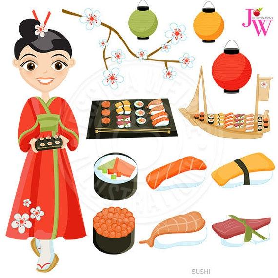 Sushi Cute Digital Clipart, Japanese Cuisine, Sushi Clip Art, Sushi Graphics, California Roll, Sushi Boat, Sushi Food Clipart, Chop Sticks