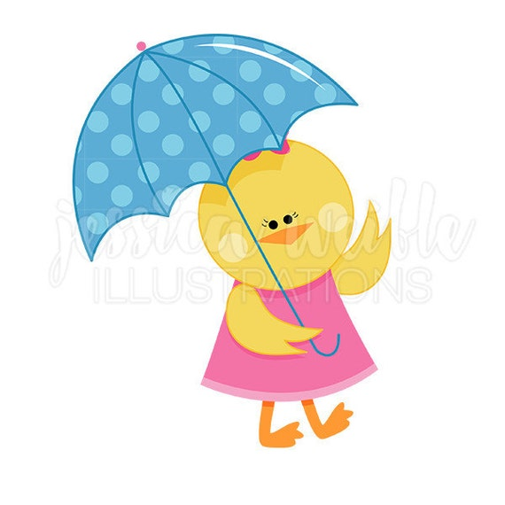 Chick with Umbrella Cute Digital Clipart, Spring Rainy Day ...