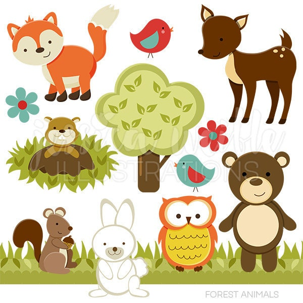 forest friends cute digital clipart commercial use ok forest animals clipart images forest animal clipart black and white