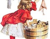 Girl Washing Doll Clothes, Canvas Photo Paper Print  or Cotton Fabric Block, Home Decor, Wall Decor,  Decor, Home Decor, Quilting Supplies