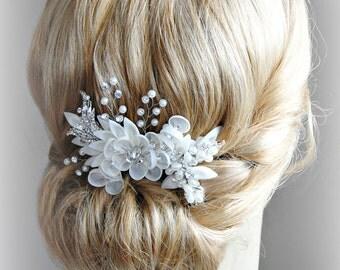 Ivory Bridal Fascinator, Ivory Hair Comb, Swarovski Crystals and Pearls, Organza Hair Flowers, Hair Vine - ISOLDE