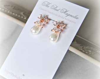 Rose Gold Pearl and Crystal Earrings, Studs, Bridal Earrings, Bridal Jewelry, Wedding Jewelry, Bridesmaid Earrings - MIKAELA