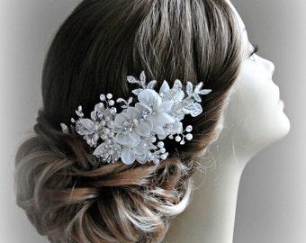 Ivory Bridal Fascinator, Lace Rhinestone and Pearl Hair Flowers, Crystal Hair Vine - JENNA