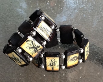 Alice in Wonderland Adjustable Wooden Tile Bracelet