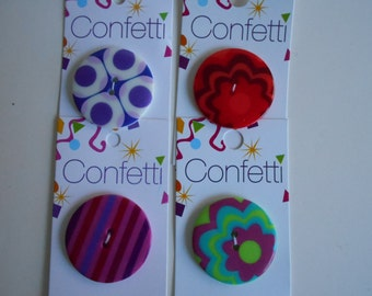 Confetti Buttons 1 3/8 inch diameter two hole rounds. Colorful embellishments