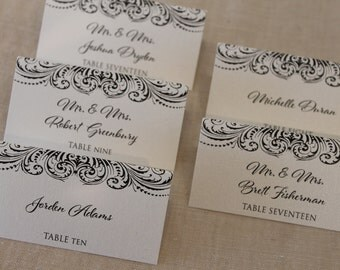 Elegant Flourish Tent-Fold Seating/Escort Cards
