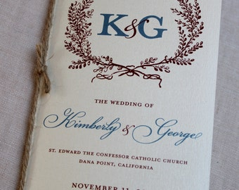 Rustic Monogram Wedding Program