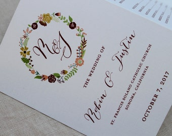 Floral Wreath Tri-fold Wedding Program