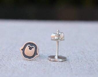 Penguin earrings, sterling silver penguin earrings, penguin post earrings