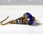 Victorian Sapphire Crystal Earrings Dark Blue Earrings Sapphire Earrings Vintage Style Antique Brass Earrings Birthstone Gift Best Friends