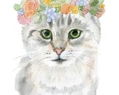 Cat Floral Watercolor Painting 5 x 7 Fine Art Giclee Reproduction Girls Nursery Decor Gray Tabby Cat