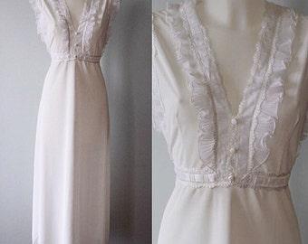Vintage White Nightgown, White Nightgown, Romantic, Wedding, Biancheria, 1970s Nightgown, Vintage Lingerie
