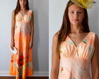 Vintage Dress, Vintage Gown, 1970s Dress, Peach, Poppy, Summer Dress, Evening, Maxi Dress, Wedding, Bridesmaid Dress, Floral