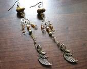 Wing earrings | long dangle | steampunk | boho chic | rustic chandelier