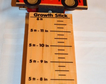 Childrens  GIFT Fire Engine Wood Growth Measure Stick Gift  made in USA ships in 24 hours