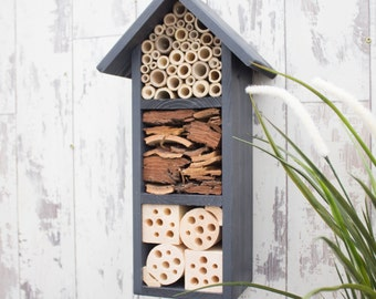 Mason Bee House, Insect House, Bug Box, three tier, in 'Urban Slate'. Can be personalised.
