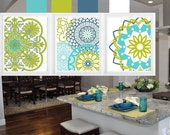 Geometric Patterns Mandala Olive Green Blue  Wall Art Prints - Contemporary Wall Art Modern Poster-Set of (3) Custom color option available