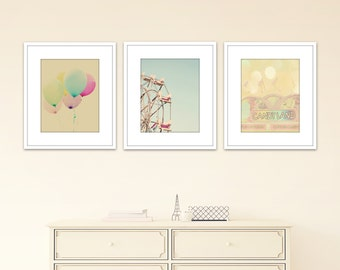 nursery wall art, baby girl room, set of 3 prints, carnival wall decor, pastel art, toddler girl room, nursery decor girl, wall art photos
