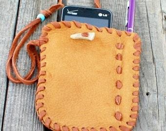 Leather phone sleeve , stylus compartment , custom phone sleeve , wrist phone bag , antler closure ,  handmade leather bag ,  by thunderrose