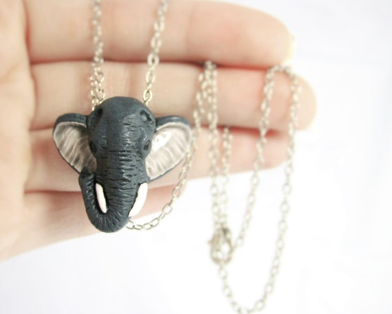 Elephant Necklace - Sterling Silver Elephant Jewelry - African Necklace - Clay Elephant Pendant - Tribal Necklace - Tribal Jewlery