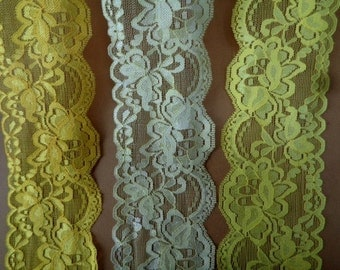 """Sunshine or Lemon Yellow lace 3 1/2"""" width ( 89 mm ) beautiful shimmery double side scalloped edge stretch lace trim ST"""