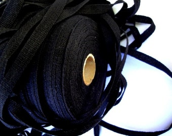 """10 Yards 1/4"""" (6 mm) Black Cotton Tape for Sewing and Crafts ST"""