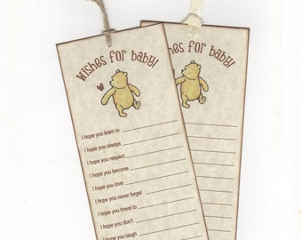 10 Winnie The Pooh Wish Cards, Baby Shower Wish Advice Card Tags For Baby Boy Or Girl - Vintage Style