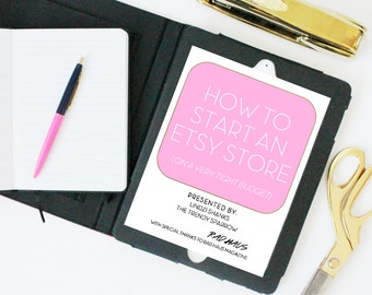 How To Start an Etsy Store on a Tight Budget eBook & Workbook // Etsy How To - Girl boss - boss lady - entrepreneur - budget planner - boss