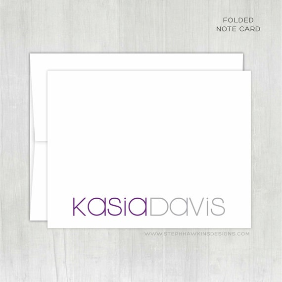 Personalized Thank You Notes • Two-Tone Mod {FOLDED} • 10 Note Cards with Envelopes • Personalized Stationery • Personalized Stationary