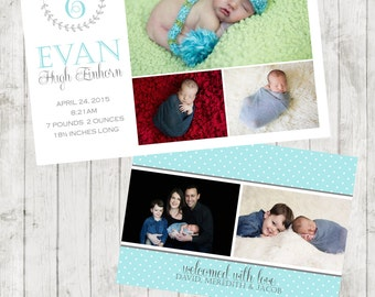 Monogram Baby 3 Photo Birth/Baby Announcement - Baby Boy or Girl - customizable - Newborn - Classic