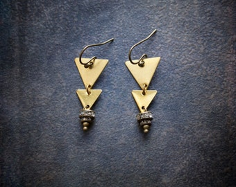 Modern Geometric Raw Brass Dangle Earrings with Tiny Rhinestone Rondelles
