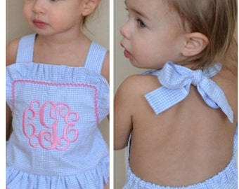 Baby bathing suit, Monogram bathing suit baby toddler Girls One piece ruffle monogram swimsuit Boutique handmade SNAPS IN CROTCH