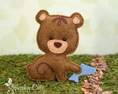 Bear Sewing Pattern PDF - Felt Baby Bear Ornament - Woodland Mobile Plushie Stuffed Animal - Bernie the Baby Bear - Instant Download