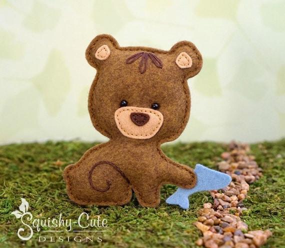 Bear Sewing Pattern PDF - Felt Baby Bear Ornament - Woodland Mobile Plushie Stuffed Animal - Bernie the Baby Bear - Instant Download