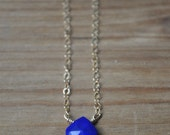 Tiny Lapis Lazuli Teardrop Gold Fill Necklace - Blue and Gold layering necklace