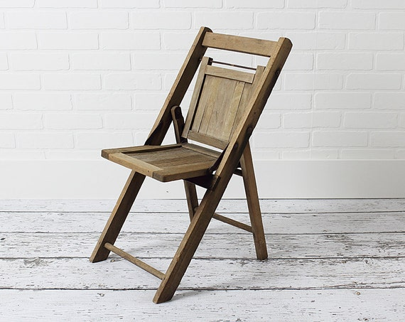 Vintage Child s Wooden Folding Chair by ZinniaCottage on Etsy