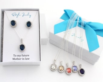 Mother of the Groom Gift from Bride, Blue Mother of the Groom Necklace and Earring Set, Mother of the Groom Jewelry Set Future Mother in Law