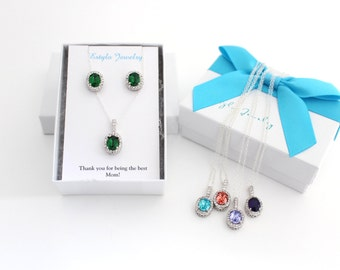 Mom Gift from Daughter, Mother of the Bride Gift Set, Green Swarovski Earring Stud, Mother of the Bride Jewelry Mom Necklace Gift for Mom