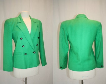 Kelly Green Jacket Evan Picone Linen Like Doublebreasted Tailored Shoulder Pads Vintage REtro 1980s Hipster Small Medium